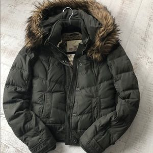 Hollister Down Puffer Jacket with Fur Hood